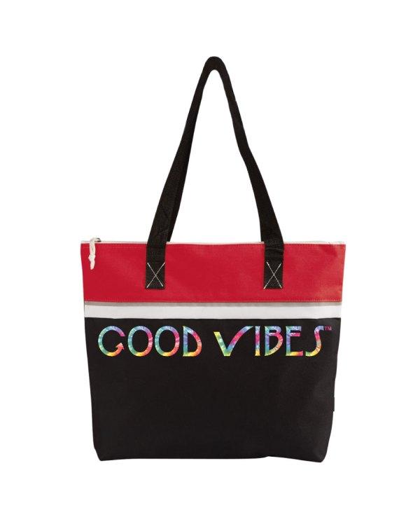 Good Vibes Tie Dye Red Tote Bag