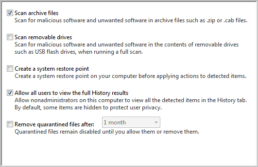 microsoft security essentials scan rules