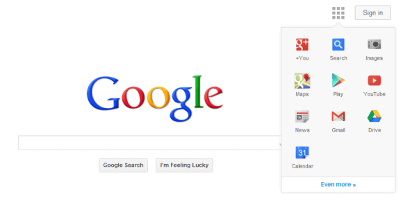 google homepage navigation screenshot