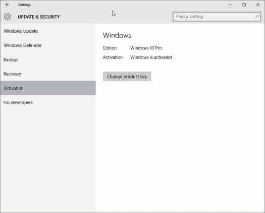 windows 10 settings activation