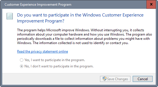 control panel disable windows customer experience program