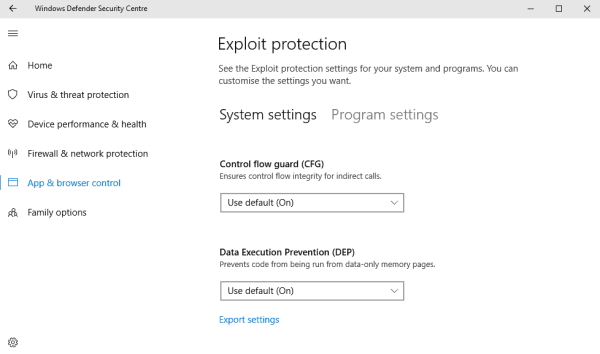 Configure Windows Defender Exploit protection in Windows ...