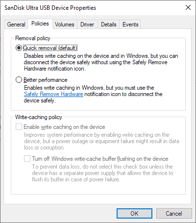 Windows 10 1809 Quick Removal New Default For External Storage Devices