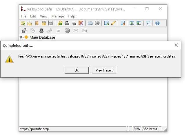 Importazione XML protetta da password da KeePass 2