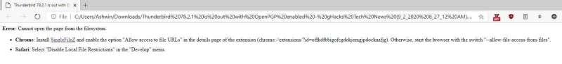 Requisiti dell'estensione di Chrome SingleFileZ