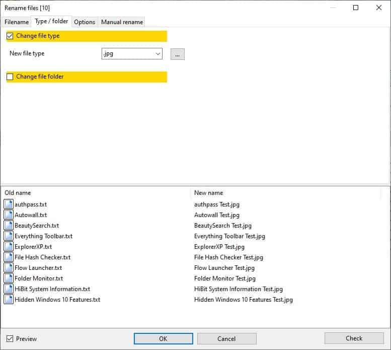 Archiver alternativo: i file rinominati in batch cambiano l'estensione