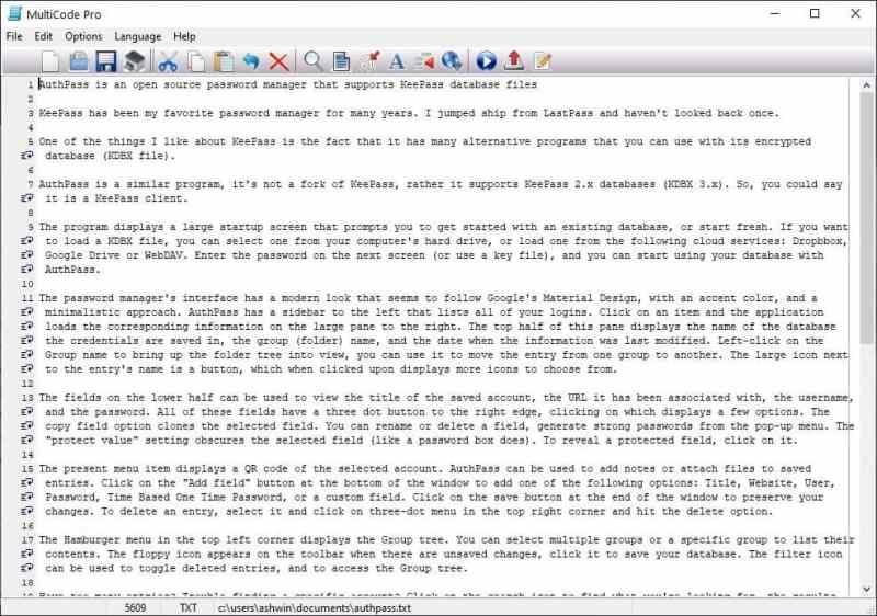 Editor di testo integrato in Documan