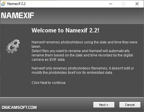Interfaccia Namexif