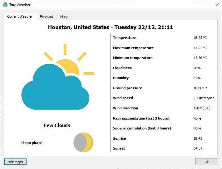 Interfaccia Tray Weather