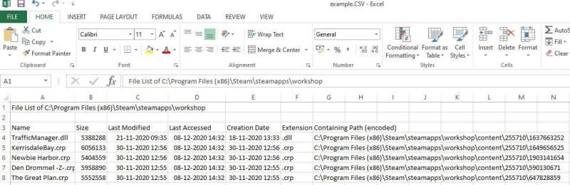 risultato del filtro personalizzato elenco file