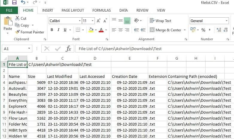 esporta elenco file in csv
