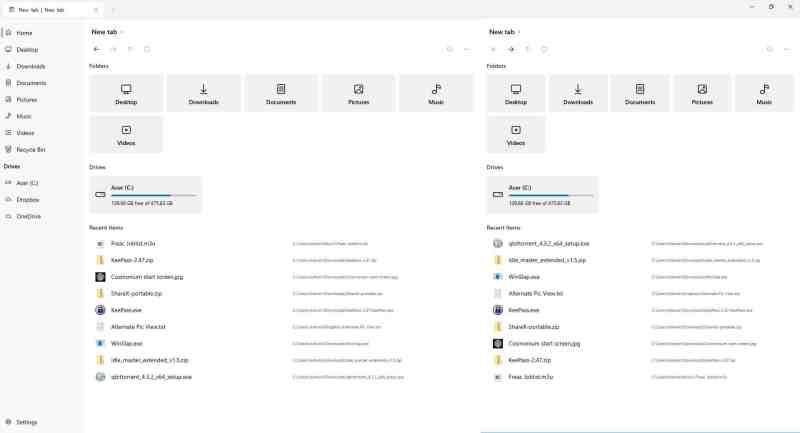File Visualizzazione a doppio riquadro