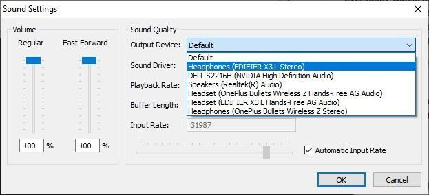 Impostazioni del suono Snes9x