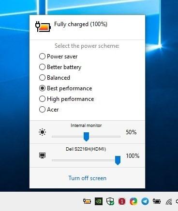 Cambia schemi di alimentazione con un tasto di scelta rapida, controlla la luminosità del monitor con la modalità batteria