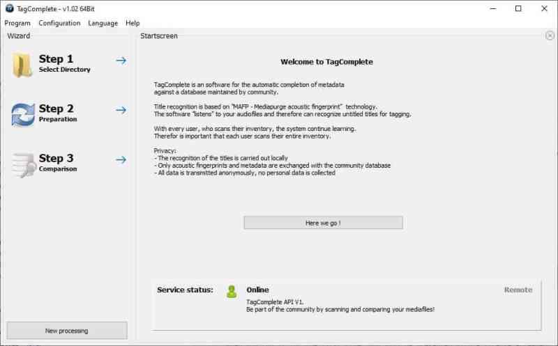 Tagcomplete è uno strumento freeware che tagga automaticamente i brani utilizzando un database creato dalla comunità