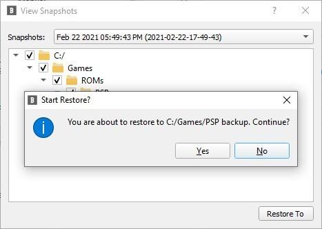 BlobBackup ripristina l'attività di backup 2