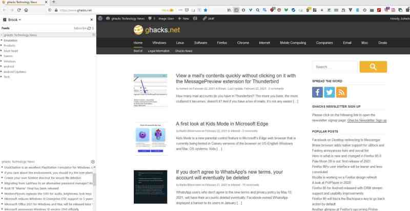 Interfaccia di estensione per Firefox di Brook