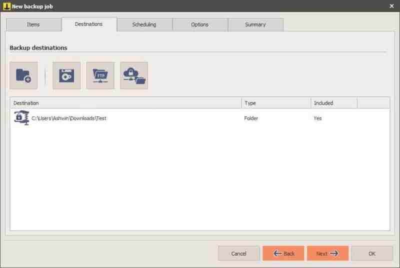 Nuova attività Iperius Backup - seleziona destinazione 2