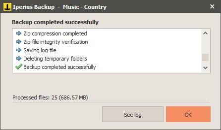 Nuova attività di Iperius Backup - riepilogo
