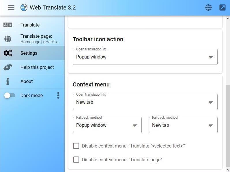 Web Translate - pulsante della barra degli strumenti