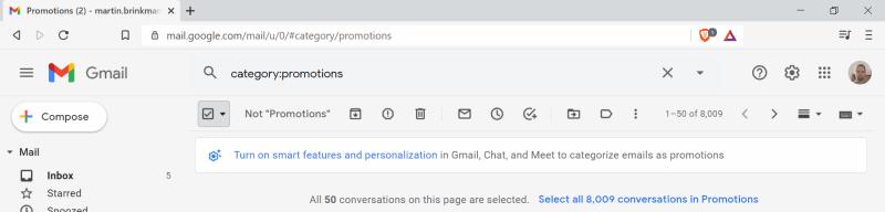 gmail elimina in blocco lo spazio libero