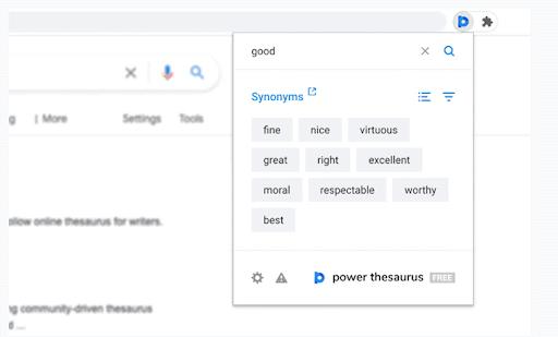 Power Thesaurus Le estensioni di Chrome sono un vasto thesaurus