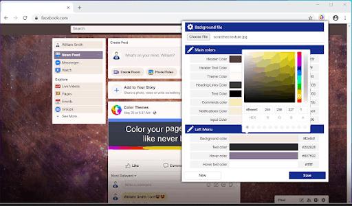 Temi e vecchia versione per l'estensione Facebook per Chrome