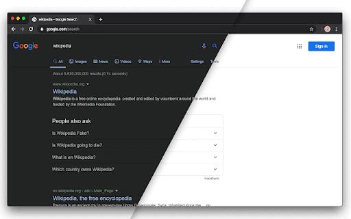 16. Screenshot ufficiale del tema normale di Google rispetto al tema scuro per Google