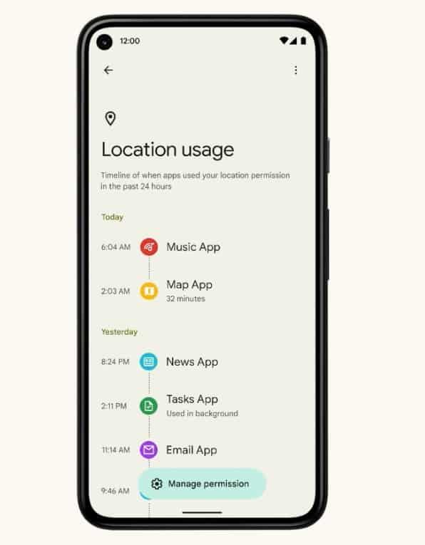 Statistiche di utilizzo del dashboard sulla privacy di Android 12