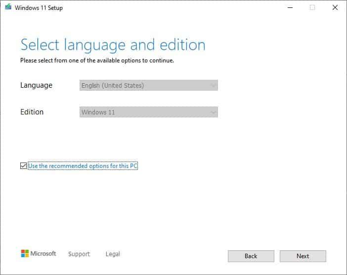 Strumento per la creazione dei supporti di installazione di Windows 11