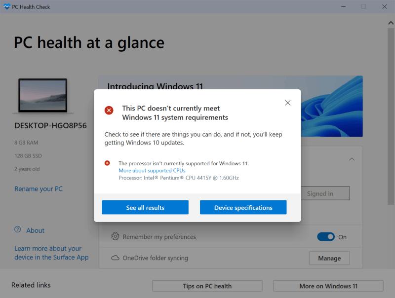 Requisiti di Windows 11 per il controllo dello stato del PC