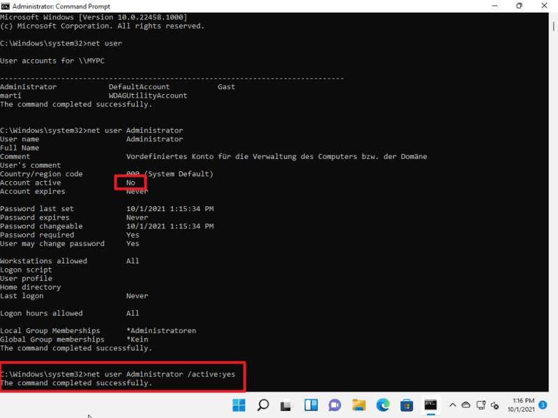 Windows 11 abilita l'account amministratore segreto