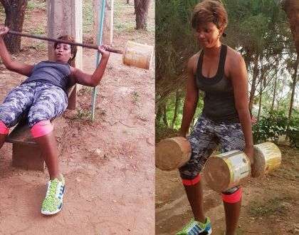 """""""Kwani eurobond imeisha"""" Ababu Namwamba's wife seen working out using improvised weight and the internet couldn't handle it"""