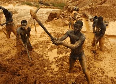 Alluvial mining destroying River Pra