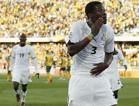 Asamoah Gyan dancing after scoring at the World Cup in South Africa