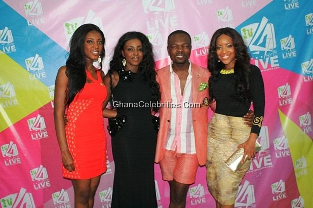 Yvonne Okoro with her sister, Joselyn Dumas and KOD at the Grand Premiere of Adams Apple