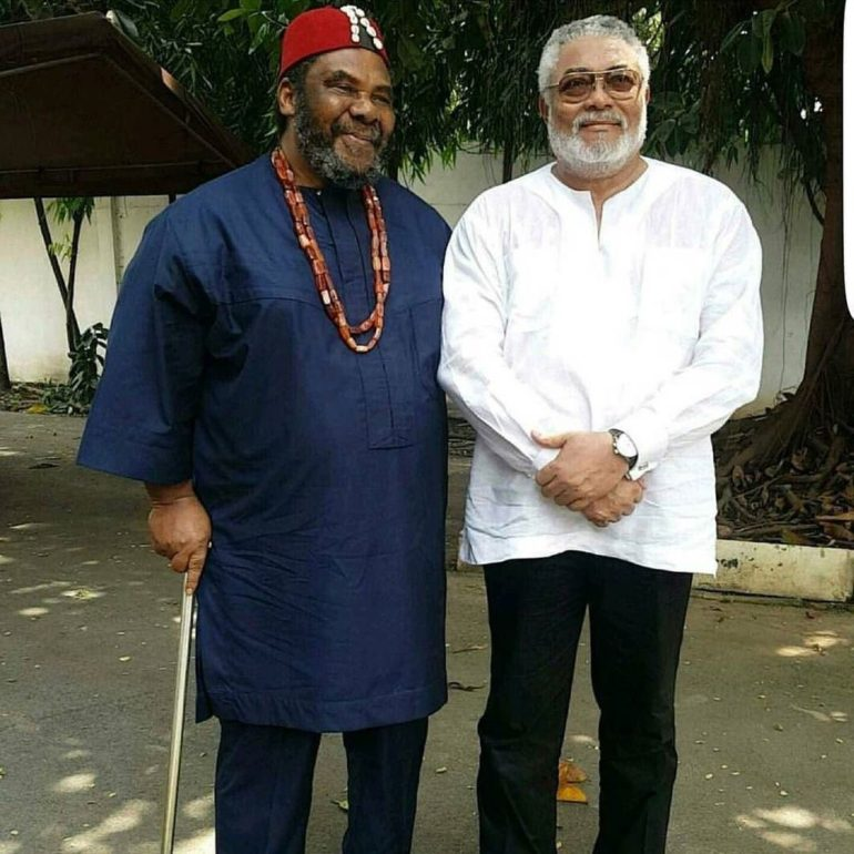 Nigerian veteran actor, Pete Edochie celebrates the death of his lookalike political friend in Ghana, Jerry John Rawlings who passed away at age 73 at Ridge Hospital in Ghana.