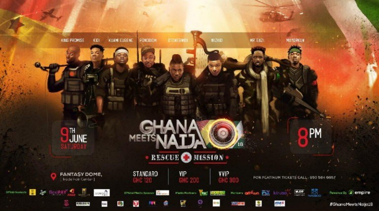 GC GIVEAWAY: WIN 5 FREE VIP Tickets and 5 Standard Tickets to 2018 Ghana Meets Naija–Don't Miss the Mega Musical Experience