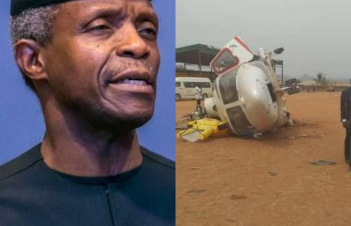 CLOSE CALL — Nigeria's Vice President Yemi Osinbajo Involved in Helicopter Crash Whilst Campaigning — PHOTOS