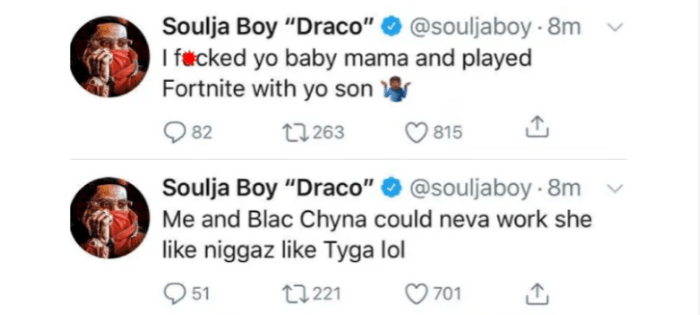 Screenshot 2019 02 27 at 12.18.14 - Soulja Boy Hits Below The Belt; Take Another Swipe At Tyga And Involves His Son With Blac Chyna
