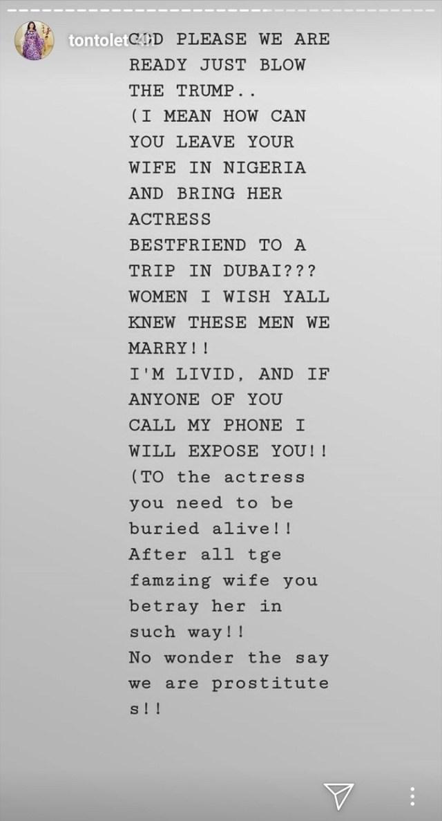 to 1 - Tonto Dikeh Exposes An Actress Having an Affair with Her Bestie's Husband — READ