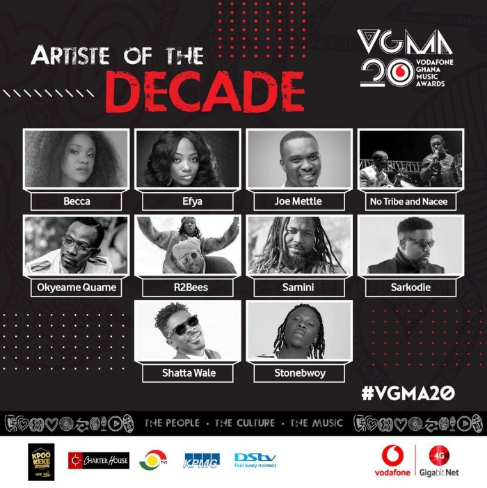 IMG 20190329 WA0004 - Charterhouse Releases Nominees for VGMA Artist of the Decade Award — Check full List