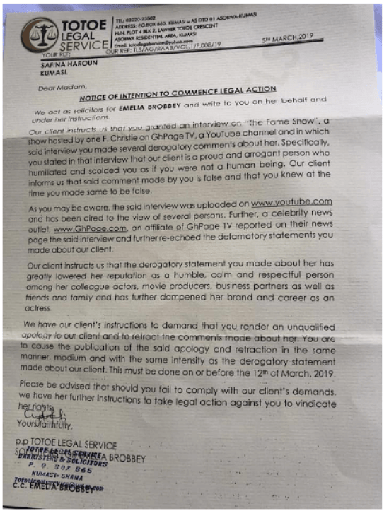 Screen Shot 2019 03 07 at 12.11.33 PM - NOTICE: Actress Emelia Brobbey Threatens To Slap A Colleague Actress With A Lawsuit If She Fails To Render An Apology To Her — Read