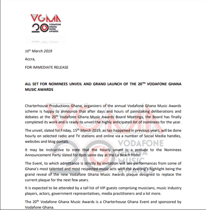 Screenshot 2019 03 11 at 07.35.17 - Nominees for 20th Vodafone Ghana Music Awards to be Unveiled On 15th March, 2019