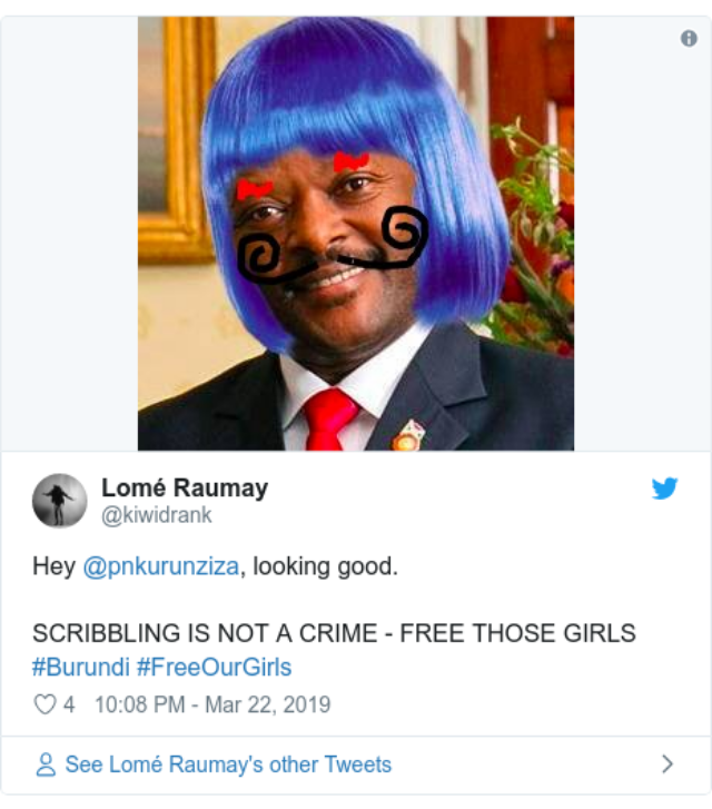 world africa 47693435 - #FreeourGirls — Social Media Campaigns for Girls Jailed in Burundi for Doodling on President's Image to be RELEASED