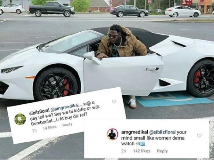 26750596 - 'Your Mind Small Like Women Dema Wrist Watch'- Medikal Claps Back At A Fan Who Tells Him He Cannot Afford A Lamborghini