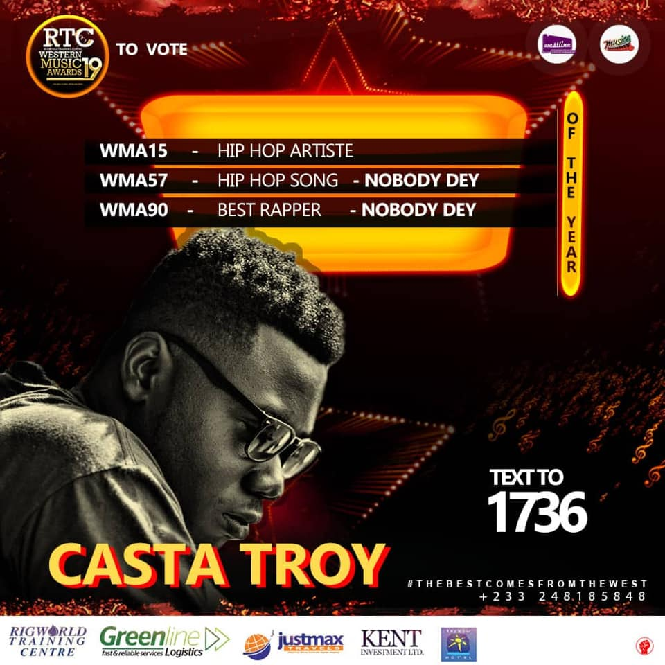 Casta Troy WMA noominations - Casta Troy, Corp Sayvee, Body Beatz, Others Nominated for RTC Western Music Awards 2019 + Full List