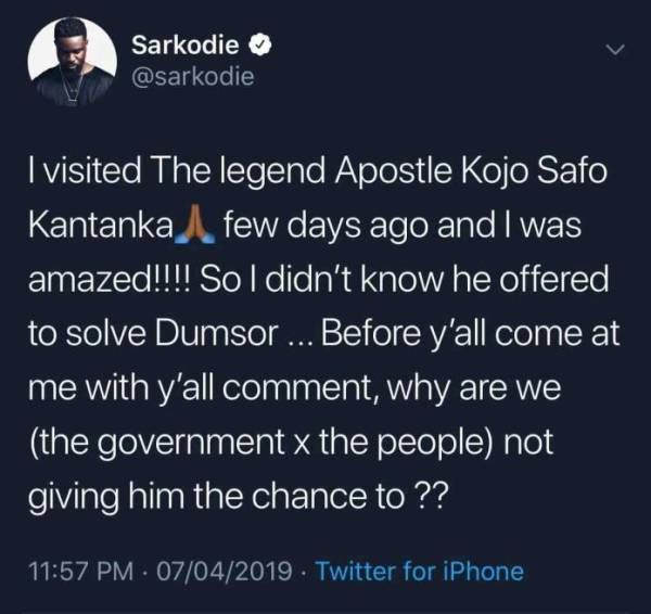 Sarkodie Dumsor - SCREENSHOT: 'Apostle Kwadwo Safo Offered To Help Solve Dumsor But Government Snubbed Him' — Sarkodie Reveals
