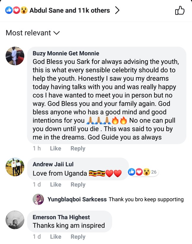 Screenshot 20190430 131223 Facebook - SCREENSHOTS: Sarkodie Fans Shower Praises On Him As He Lectures Them On How To Become Successful In Life — READ SOME