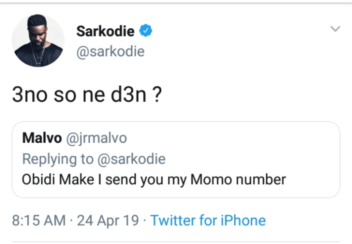 sarkd - Sarkodie Fan Begs Him for Money on Twitter — Check out His Bemused Response